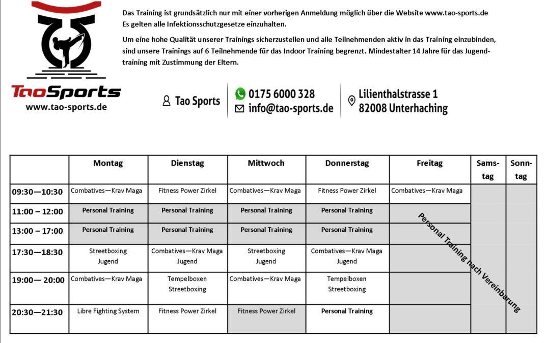 Trainingszeiten ab September 2021 bei Tao Sports in München